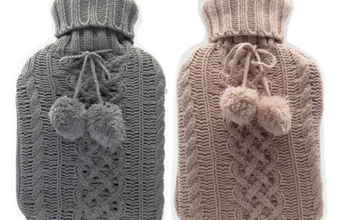 Cassandra Luxury Knit Pom Pom Hot Water Bottle